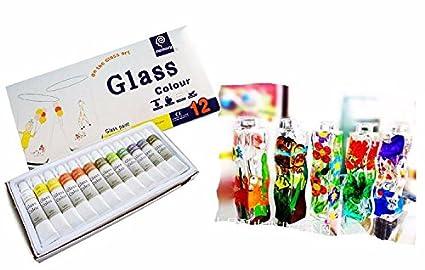 12 Unds tubos de pintura para cristal vidrio.. decorar vasos, botellas, ventanas