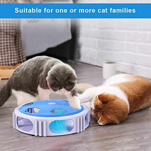 DADYPET Interactive Cat Toy, Electric Cat Toy with Bell Spinning Rotating Feather, Automatic Teaser Exercise Kitten Toy for Cat Entertainment, Training or Hunting(Battery Included) 7