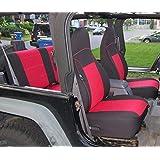 GEARFLAG Custom fits Wrangler TJ Neoprene Seat Cover Full Set 1997-02 (Front + Rear Set) (Red/Black)