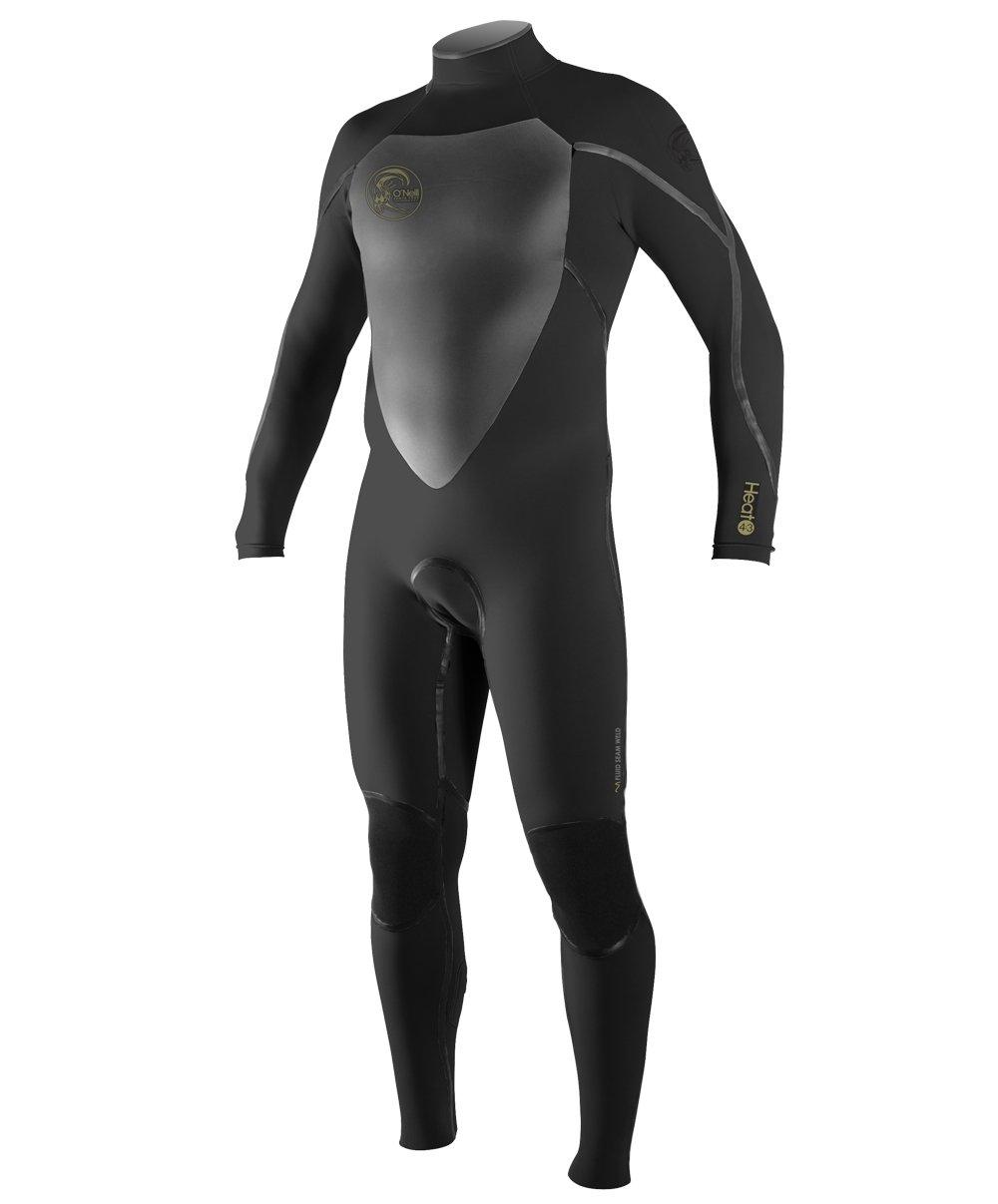 O'Neill Men's Heat 4/3mm Back Zip Full Wetsuit, Black, Small