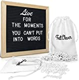 #6: Changeable Black Felt Letter Board - 10x10 Inches - w/362 Words, Letters, Numbers, and Symbols - Wooden Message Sign Letterboards Include Oak Wood Frame with Wall Mount and Canvas Bags by Felt Clever