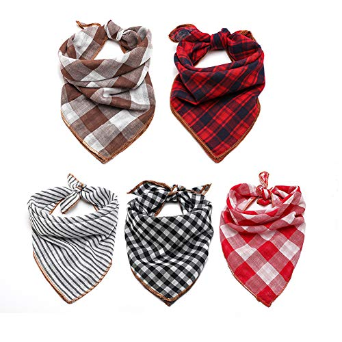 TRAVEL BUS Dog Bandana- 5pcs Washable Dog Bandanas Square Reversible Plaid Stripe Printing Dog Kerchief Set Scarf Accessories for Small to Large Dogs Cats ()