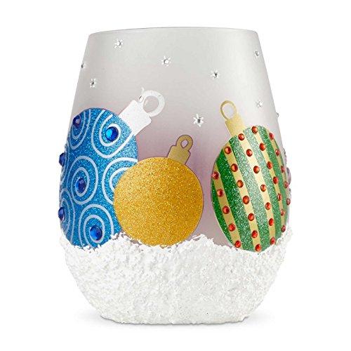 LOLITA Enesco Stemless Set Ornaments,Multicolor,4.53 inches High (Wine Lolita Glass Ornament)