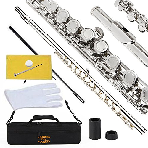 Glory Closed Hole C Flute With Case, Tuning Rod and Cloth,Joint Grease and Gloves Nickel Siver-More Colors available,Click to see more colors