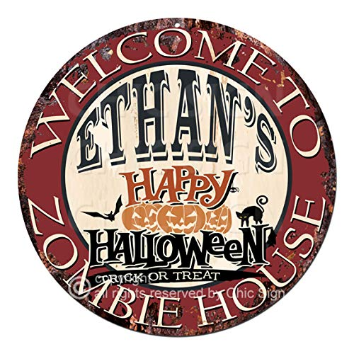 Welcome to The Ethan'S Happy Halloween Zombie House Chic Tin Sign Rustic Shabby Vintage Style Retro Kitchen Bar Pub Coffee Shop Man cave Decor Gift Ideas -
