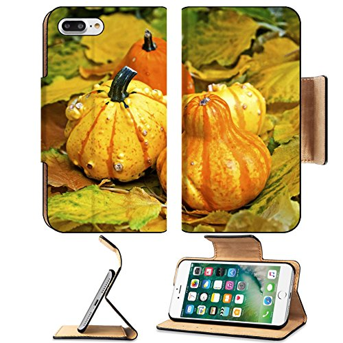 Luxlady Premium Apple iPhone 7 Plus Flip Pu Leather Wallet Case iPhone7 Plus 22399834 Pumpkins for decoration among fallen leaves in (Financial District Halloween)