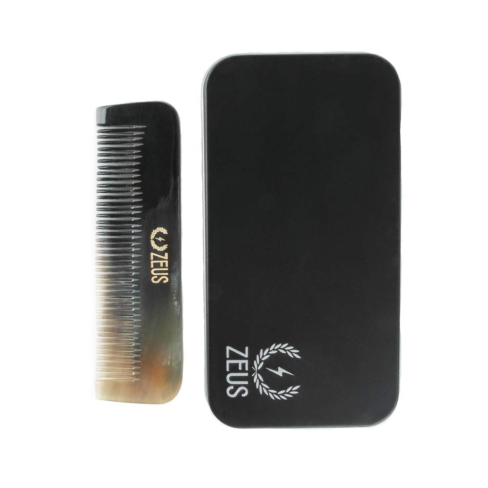 Zeus Natural Horn Medium Tooth Beard Comb in Deluxe Tin - Beard Comb for Men!