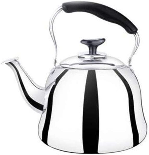 Thickened Flat Bottom Teapot, 4L/5L/6L/stainless Steel Kettle, Kettle, Jug Milk Teapot, Induction Cooker Universal (Capacity : 5L, Color : Silver)