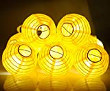 KI STORE Paper Lantern String Lights Set of 10 Extenable Plug-in Oriental Paper Lanterns with Lights for Wedding Party Bedroom Patio Decoration (Yellow)