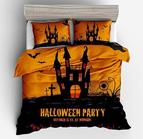 Fabulous Happy Halloween Cotton Microfiber 3pc 104''x90'' Bedding Quilt Duvet Cover Sets 2 Pillow Cases King Size by DIY Duvetcover