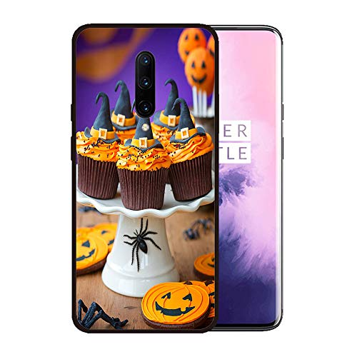 Case for OnePlus 7 pro,Silicone Cover and Tempered Glass 2 Materials,Non-Slip, Anti-Drop, Anti-Scratch,Depict- A Plate of Halloween Cupcakes with Orange Frosting]()