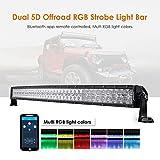 Auxbeam 42 Inch LED Light Bar RGB Multi-color Curved LED Bar 5D V Series 240W Off road Driving light CREE LEDs Spot Flood Combo Beam