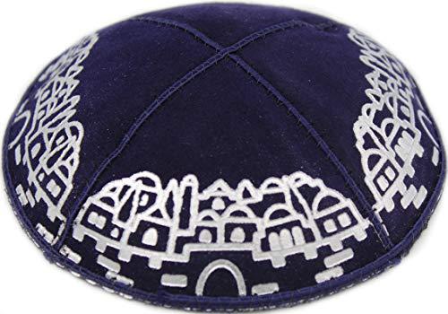 (The Dreidel Company Suede Kippa Kippah Yarmulke 16cm, Leather Silver Metallic Jerusalem Design (Jerusalem Design Navy Blue))
