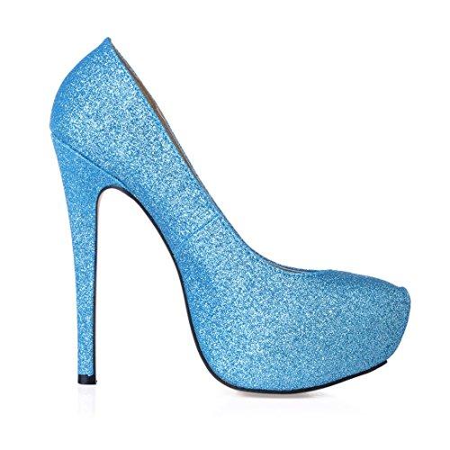 Plateforme 3cm Aiguille Haut Femmes a Talon Compensée Plusieurs Fermé Stiletto CHAU Rond Escarpins Bout CHMILE Sexy Fête Bleu Coloris Semelle 68Pxq