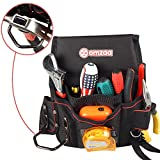 ELECTRICIAN multi pocket tools pouch with BELT and Hammer Holder, Heavy duty organizer tools bag for mechanic, garden, truck maintenance - Portable black LARGE canvas holder, Adjustable Waist Strap