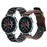 omega 22mm band - Gear S3/Galaxy Watch 46mm Bands, iWonow 22mm Quick Release Genuine Leather Watch Band Stainless Steel Strap Replacement for Samsung Gear S3 Classic/Frontier, Gear 2/ Neo/Live, LG G Watch