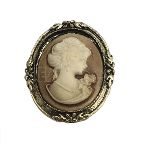 JAGENIE 1pc Queen Lady Vintage Victorian Design Cameo Black Enamel Bronze Brooch Pin