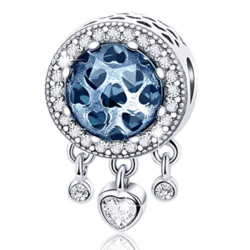 FOREVER QUEEN Dream Catcher Charm Genuine 925 Sterling Silver Dangle Heart Radiant CZ Crystal Bead fit Original Pandora Charm Bracelet and Necklace BJ09085 (Crystal Pandora Charms)