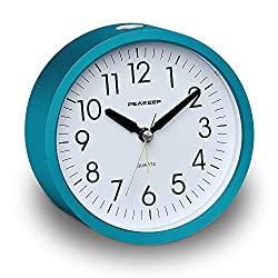 Peakeep 4 Inches Round Silent Analog Alarm Clock Non Ticking, Gentle Wake, Increasing Volume, Battery Operated, Easy Set (Turquoise Blue)