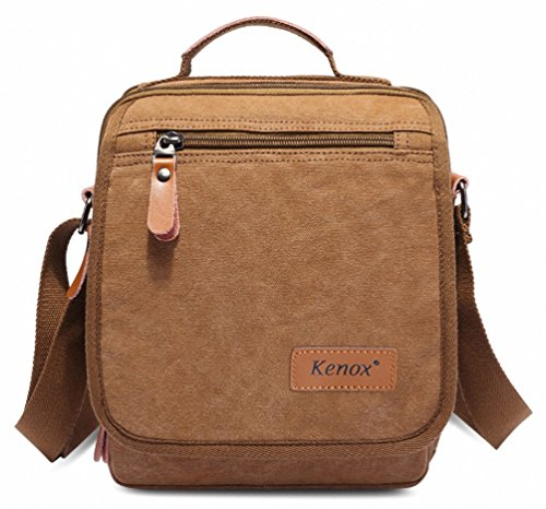 Kenox Durable Vintage Multifunction Canvas Shoulder Bag Business Messenger Bag Ipad Bag Tote Bag Satchel Bag (Brown)