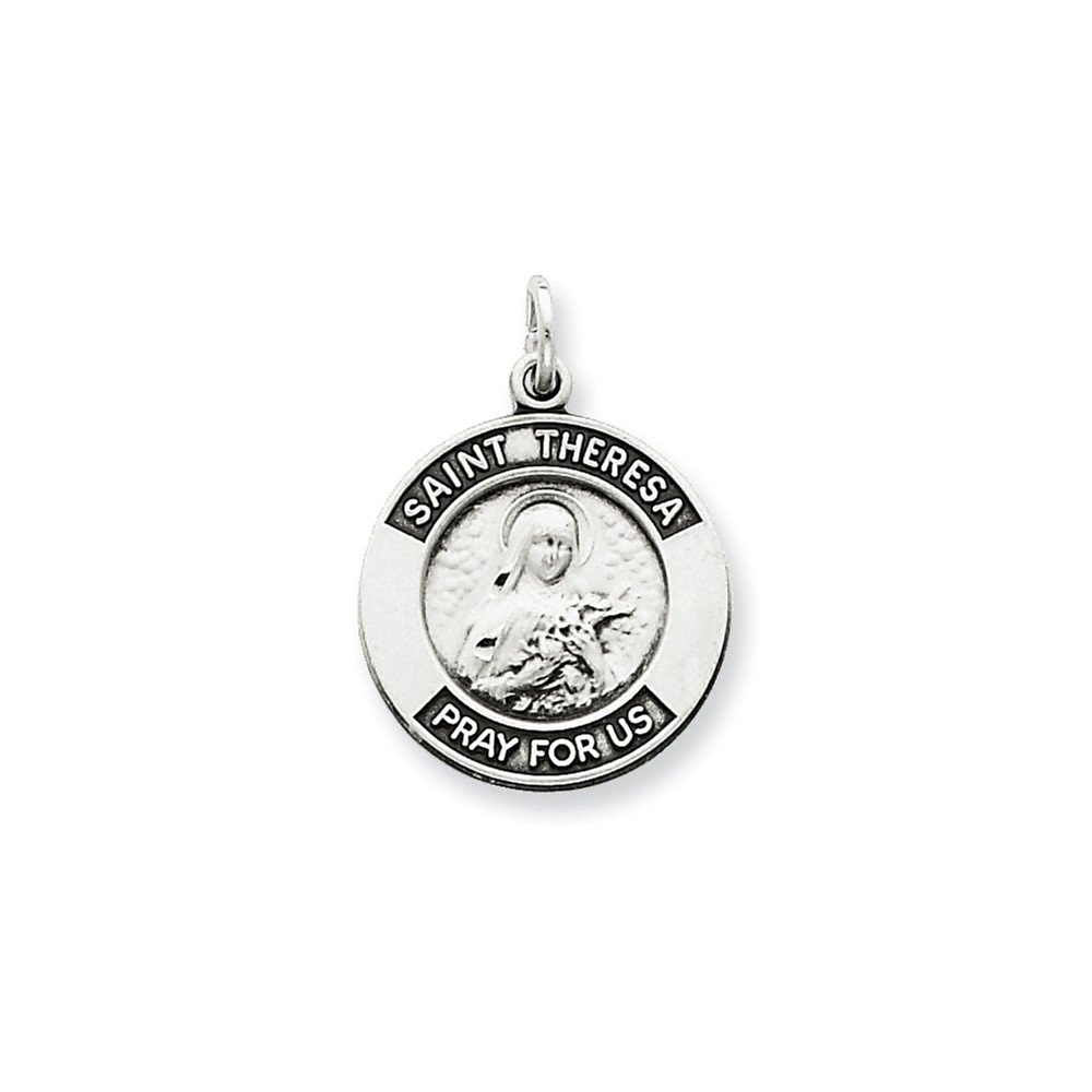Sterling Silver Antiqued Saint Theresa Medal