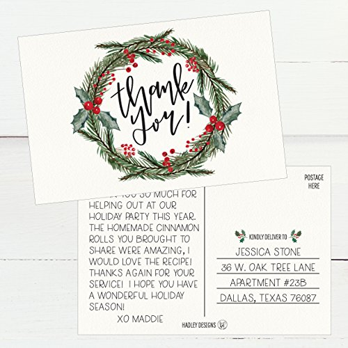 25 4x6 Blank Christmas Holiday Thank You Postcards Bulk, Cute Modern Fancy Winter Note Card Stationery For Wedding Bridesmaids, Bridal or Baby Shower, Teachers, Appreciation, Religious, Business Cards Photo #3