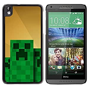 Slim Design Hard PC/Aluminum Shell Case Cover for HTC DESIRE 816 Green Monster Computer Game Character / JUSTGO PHONE PROTECTOR