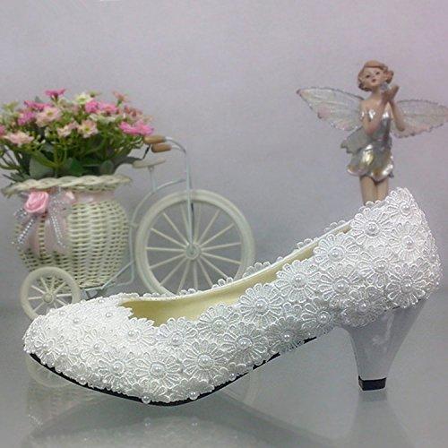 Blanc UK4.5 JINGXINSTORE Fleurs dentelle blanche avec Perle de mariage bouche peu profonde mariée mariée à tête ronde chaussures de travail