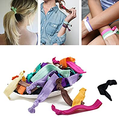 Fir-Forest 100 Elastic Hair Ties Hair Bands Ponytail Holders No Crease Ouchless Hair Ribbons Candy Color DIY Hand Knotted Hair Accessories for Women Baby Girls and Kids