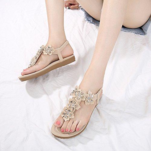 Sandals 03 Bohemian Shoes Comfort Womens Flop Apricot Flat Summer Flip Meeshine Rhinestone wETYPEq