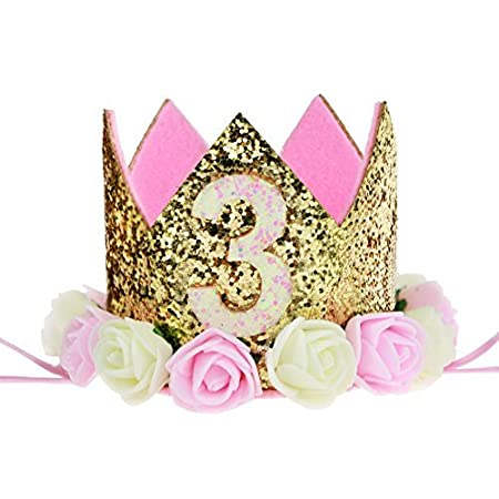 Paner 1 style Baby Princess Tiara Crown, Kids First Birthday Hat Sparkle Gold Flower Style