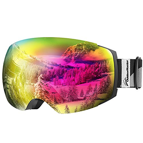 (OutdoorMaster Ski Goggles PRO - Frameless, Interchangeable Lens 100% UV400 Protection Snow Goggles for Men & Women ( Black Frame VLT 17% Rose Lens and Free Protective Case ))