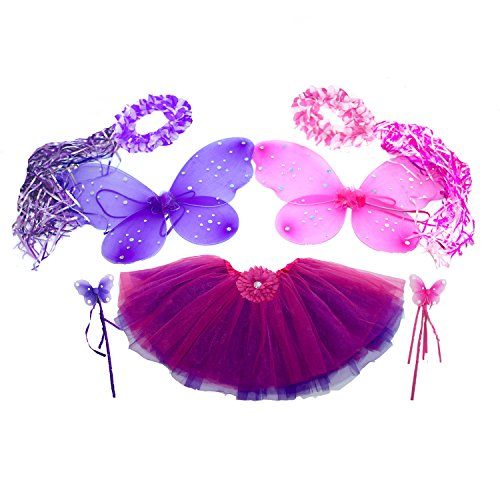 7pc Hot Pink & Purple Fairy Princess Costumes with Reversible Tutu PLUS GIFT BAG (Girls Fairy Princess Costume)