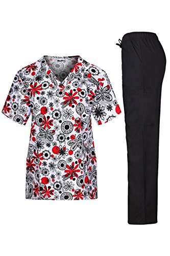 MedPro Women's Medical Scrub Set with V Neck Top and Cargo Pants Black Red XS by MedPro