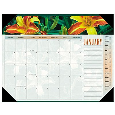 Visual Desk Pad Organizer - Visual Organizer Products - Visual Organizer - Panoramic Floral Monthly Desk Pad Calendar, 22 x 17 - Sold As 1 Each - Beautiful image each month. - Background design and color scheme coordinate with each image. - Features unruled daily blocks, lined note space and full year calendar reference blocks. - Three bonus pages with current year reference calendar, next year reference calendar, and dates to remember. - Four corner vinyl holder with chipboard backing.
