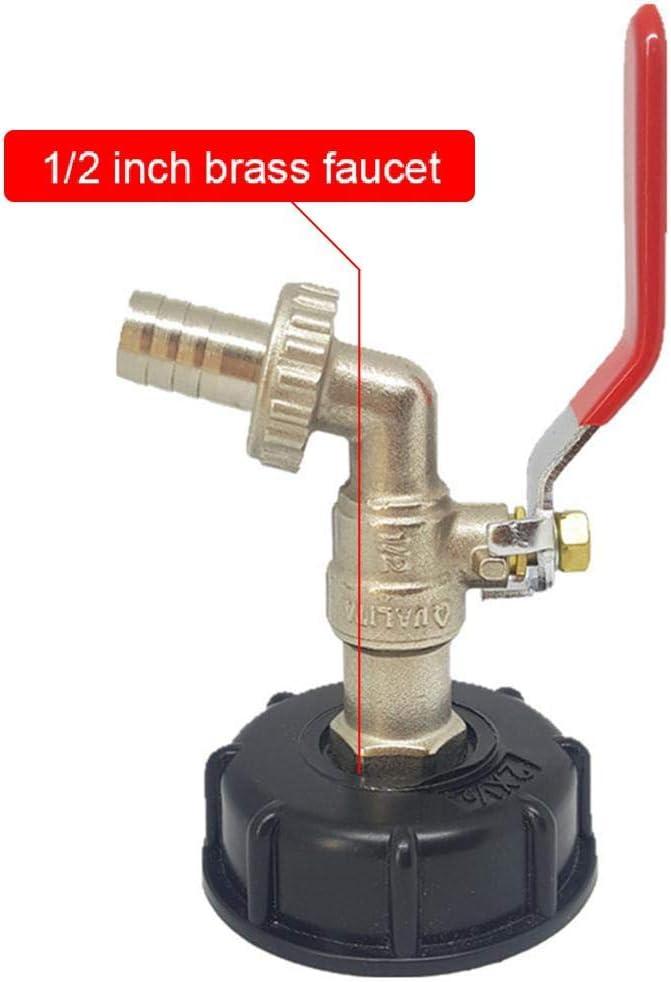 Fewao IBC Adaptador de Tanque IBC Adaptador de Drenaje de Tanque S60X6 a Grifo de jard/ín de lat/ón con Manguera de 1//2 Pulgada Agua de Combustible de Aceite