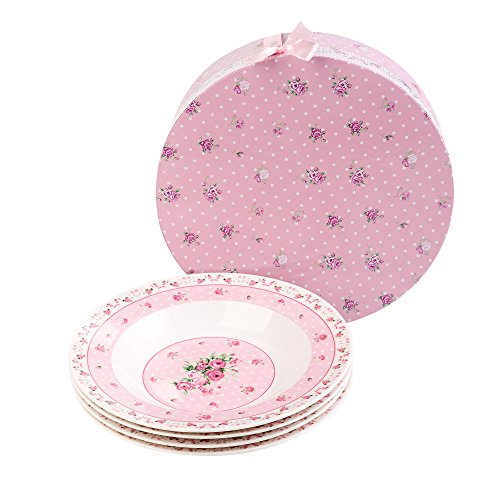 Fine China Rimmed Soup Bowl - London Boutique Wide Rimmed Soup Pasta Bowls Set in Gift Box, Porcelain Fine China, Pink Rose