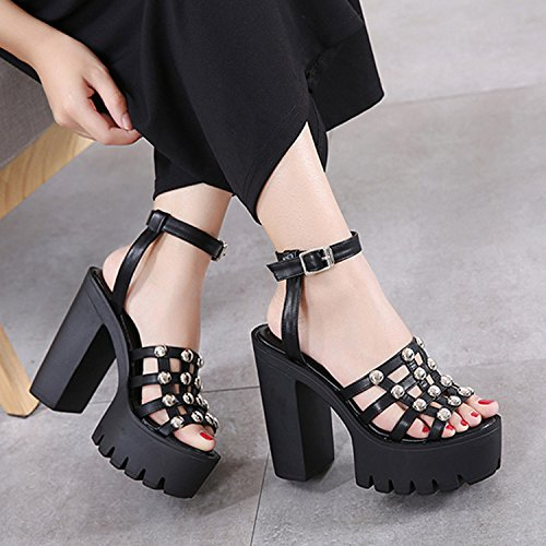 CHNHIRA Sandalias Zapato de Tacón Alto Plano Para Mujer EN Verano (36EU Negro) zqNIAy
