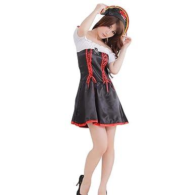 BaZhaHei-Halloween, Vestido de Pijama Sexy de lencería Sexy de Halloween para Mujer Traje de Pirata de la Reina Sexy Cosplay Halloween Dress Up Party ...
