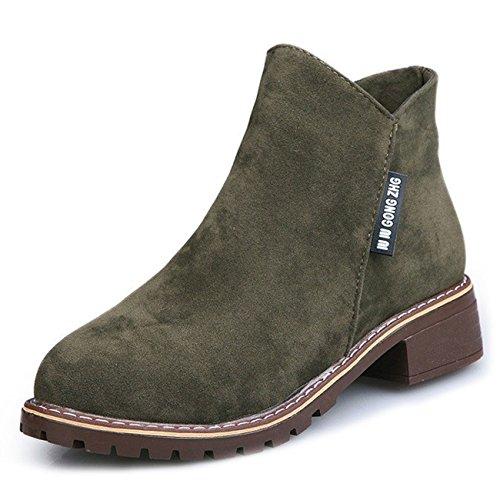CHNHIRA Women's Leather Retro Short Boots Mary Janes Block Heel Shoes Green sHun1xieeF