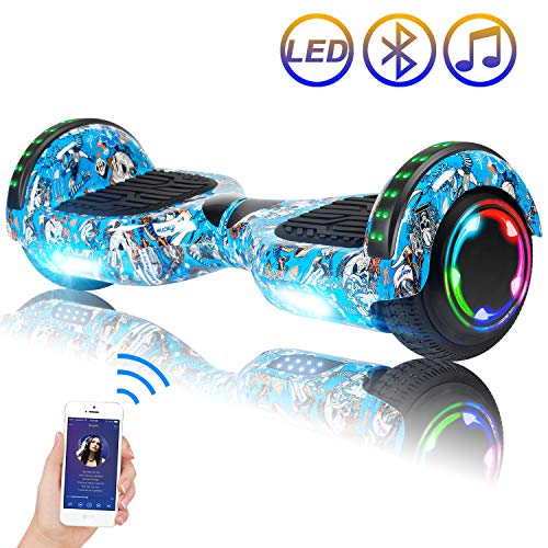 "Hoverboard Self Balancing Scooter 6.5"" Two-Wheel Self Balancing Hoverboard with Bluetooth Speaker and LED Lights Electric Scooter for Adult Kids Gift UL 2272 Certified Fun Edition - Skull Graffiti"