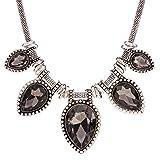 Black Acrylic Resin Teardrop Elegant Bead Pendant Chunky Chain Collar Necklace