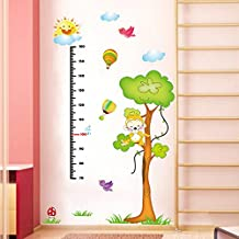 WDA DIY Monkey Laughing on Tree Bird Flying Sun Smiling Animal Wall Stickers Height Measurement PVC Removabwle Repositionable Wall Decals