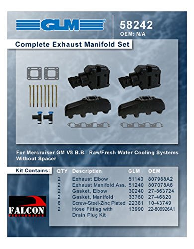 MERCRUISER COMPLETE EXHAUST MANIFOLD SET GM B-B (CAST IRON) | GLM Part (Gl Exhaust Gasket Manifold)