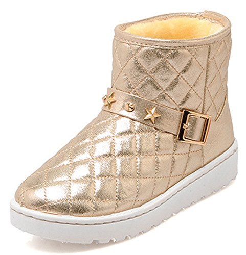 IDIFU Womens Durable Platform Flat Fully Fur Lined Warm Winter Short Snow Boots Gold auZDar