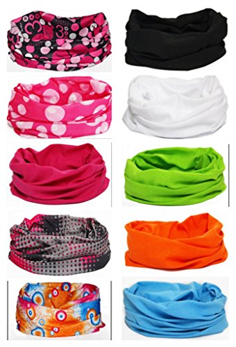 Handy Woman Costume (Multi-use Seamless Headband Tube Face Mask Headwrap Fashion Scarf 10 Pack (Style 3))