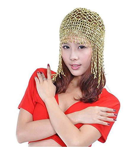 Beaded Dance Costumes (ZYZF Womens Tribal Exotic Cleopatra Jewelry Shiny Beaded Belly Dance Head Cap Egyptian Costume Accessory (Light Golden))