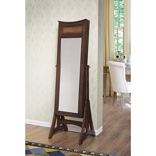 W Unlimited Bedford Classic Long Cheval Mirror Jewelry Cabinet Armoire for Necklaces, Rings, Earrings, Bracelets Storage Organizer Stand, Brown by WUnlimited