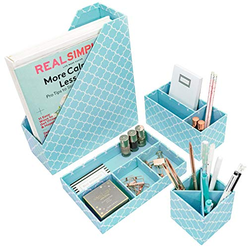 Blu Monaco Teal Desk Organizers and Accessories for Women - 4 Piece Desktop Cubicle Decor Set - Letter - Mail Organizer, Desk Organizer Caddy Tray Office Supplies, Pen Cup, Magazine File Holder - Aqua (Girl Accessories Desk)