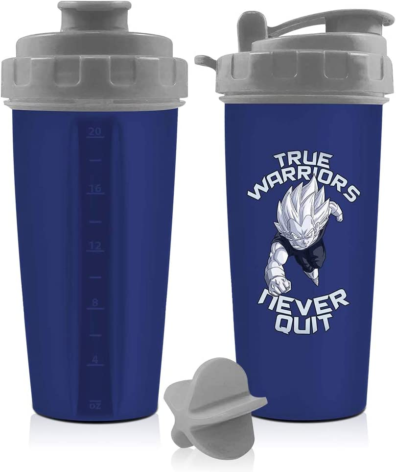 Dragon Ball Z Blue Vegeta Shaker Bottle 20 oz Best Portable Pre Workout Whey Protein Drink Shaker Cup, Mixes Cocktails, Smoothies and Shakes, Dishwasher Safe